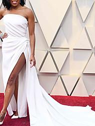 cheap -Sheath / Column Celebrity Style Elegant Engagement Formal Evening Dress Strapless Sleeveless Court Train Stretch Chiffon with Split 2021
