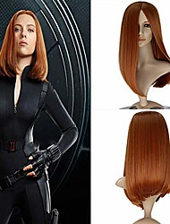 cheap -captain america the winter soldier black widow cosplay wig dark brown silk straight heat resistant fiber wigs for women middle part long synthetic wig daily wear