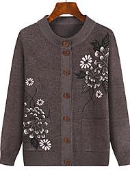 cheap -Women's Cardigan Knitted Floral Stylish Acrylic Fibers Long Sleeve Plus Size Sweater Cardigans Crew Neck Fall Winter Purple Yellow Blushing Pink