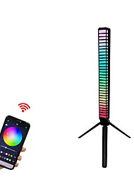 cheap -1 pcs 3D Smart Voice Activated led Light APP Control RGB Music Level Indicator Light  Built-in Battary for Car Gaming PC TV Room 240mAh Black one Pack)