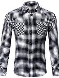 cheap -Men's Shirt Plaid Button-Down Print Long Sleeve Home Regular Fit Tops Casual Fashion Breathable Comfortable Black