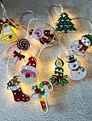 cheap -Christmas Fairy LED String Lights Santa Claus Snowman Cane Christmas Tree Lights String 1.65M 10LEDs Socks Bells Battery Light Christmas Holiday Family Party Decoration Lamp