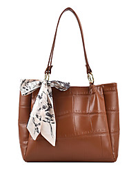 cheap -Women's Bags PU Leather Tote Top Handle Bag Bowknot Zipper Plain Solid Color Daily Outdoor Retro Leather Bag Tote Khaki White Black Brown