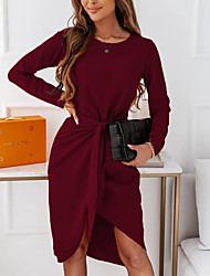 cheap -Women's A Line Dress Knee Length Dress Wine Green Black Long Sleeve Solid Color Ruched Lace up Fall Round Neck Casual 2021 S M L XL XXL