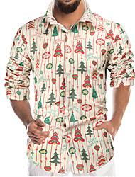 cheap -Men's Shirt 3D Print Holiday 3D Print Long Sleeve Christmas Regular Fit Tops Simple Casual Black / Halloween