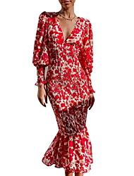cheap -Women's Trumpet / Mermaid Dress Midi Dress Red Long Sleeve Print Color Block Ruched Print Fall V Neck Elegant 2021 S M L XL XXL 3XL