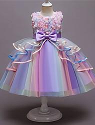 cheap -Kids Little Girls' Dress Flower A Line Dress Party Bow Purple Blushing Pink Light Blue Knee-length Sleeveless Princess Cute Dresses New Year Fall Summer Slim 3-10 Years