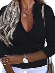 cheap -Women's Plus Size Tops Blouse Shirt Plain Long Sleeve V Neck Basic Fall Blue Blushing Pink khaki Big Size L XL XXL 3XL 4XL