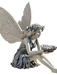 cheap -The Sunflower Fairy Statue Beautiful Angel Sculpture Realistic Figure Ornament Stone Garden Yard Art Outdoors Indoor Decoration
