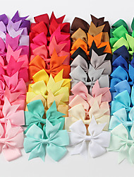 cheap -40 pcs/set 40 Colors Solid Color Ribbed Ribbon Fishtail Bow Hairpin Hair Accessories Children Hair