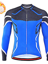 cheap -21Grams Men's Long Sleeve Cycling Jersey Winter Fleece Spandex Red Blue Green Color Block Bike Top Mountain Bike MTB Road Bike Cycling Quick Dry Moisture Wicking Sports Clothing Apparel / Stretchy