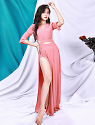 cheap -Belly Dance Dress Hollow-out Solid Women's Training Performance Half Sleeve Polyester
