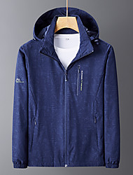 cheap -Men's Outdoor Jacket Daily Outdoor Fall Spring Regular Coat Zipper Stand Collar Regular Fit Waterproof Windproof Breathable Sports Jacket Long Sleeve Camo / Camouflage Pocket Dark Grey Dark Green