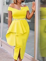 cheap -Women's Plus Size Dress Sheath Dress Midi Dress Short Sleeve Solid Color Ruffle Work Fall Summer Wine Blue Yellow L XL XXL 3XL