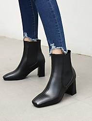 cheap -Women's Boots Chunky Heel Square Toe Booties Ankle Boots Daily PU Color Block Black Brown Beige / Booties / Ankle Boots