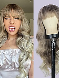 cheap -Long Wavy Wig Ombre Blonde Wig with Bangs Wavy Blond Wig for Women Synthetic Heat Resistant Wig for Daily Party 26inches (Ombre Blonde Wig)