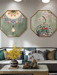 cheap -Wall Art Canvas Prints Painting Artwork Picture Plant Ink Painting Retro Chinese style Home Decoration Decor Stretched Frame Ready to Hang