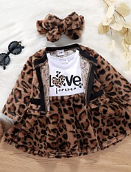cheap -2 Pieces Baby Girls' Clothing Set Active Fashion Vacation Khaki Leopard Print Long Sleeve Regular