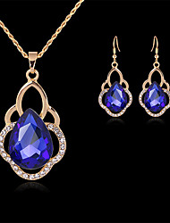 cheap -Women's Bridal Jewelry Sets Geometrical Precious Fashion Gold Plated Earrings Jewelry Blue / White For Christmas Party Wedding Gift Festival 1 set
