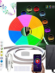 cheap -3M RGB Waterproof Iintelligence Neon Rope Lamp Kit 5M 2*5M Bluetooth App Control Dimmable Silicone LED Strip Lights Music Synchronization Silicone Multi-Color Changingfor Party DIY Cuttable