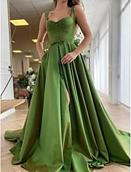 cheap -A-Line Elegant Princess Party Wear Formal Evening Dress Scoop Neck Sleeveless Court Train Satin with Buttons Pleats Split 2021