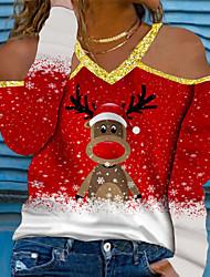 cheap -Women's Plus Size Tops T shirt Cartoon Graphic Animal Sequins Print Long Sleeve V Neck Streetwear Christmas Fall Winter Blue Purple Wine Big Size L XL XXL 3XL 4XL