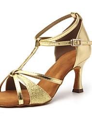cheap -Women's Latin Shoes Dance Shoes Heel Glitter Cuban Heel Open Toe Silver Gold Black Buckle T-Strap Adults' Sparkling Shoes