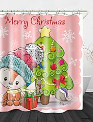 cheap -Cute Cartoon Christmas Printed Waterproof Fabric Shower Curtain Bathroom Home Decoration Covered Bathtub Curtain Lining Including hooks.