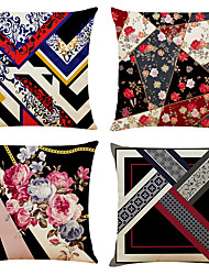 cheap -Arty Floral Double Side Cushion Cover 4PC Soft Decorative Square Throw Pillow Cover Cushion Case Pillowcase for Bedroom Livingroom Superior Quality Machine Washable Indoor Cushion for Sofa Couch Bed Chair