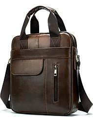 cheap -Men's Bags Nappa Leather Cowhide Crossbody Bag Zipper Daily Handbags Messenger Bag Brown