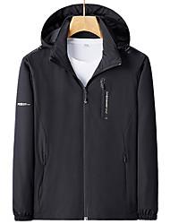 cheap -Men's Outdoor Jacket Daily Outdoor Fall Spring Regular Coat Zipper Stand Collar Regular Fit Waterproof Windproof Breathable Sports Jacket Long Sleeve Solid Color Pocket Dark Grey Blue Dark Green