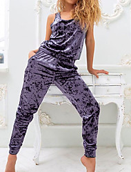 cheap -Women's Breathable Loungewear Sets Home Street Daily Going out Basic Elastic Waist Pure Color Cotton Simple Fashion Sport Strap Top Pant Fall Straps Sleeveless Long Pant