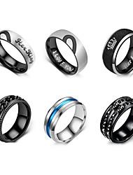 cheap -Men Ring Retro Black Stainless Steel Galaxy Simple Punk Casual / Sporty 6pcs / Men's