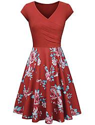 cheap -Women's Plus Size Dress A Line Dress Knee Length Dress Long Sleeve Floral Print Work Fall Wine Purple Orange L XL XXL 3XL 4XL