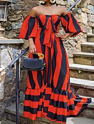 cheap -Women's Swing Dress Maxi long Dress Blue Yellow Light Red Orange Light Blue Short Sleeve Striped Ruched Pocket Fall Off Shoulder Casual 2021 S M L XL XXL 3XL