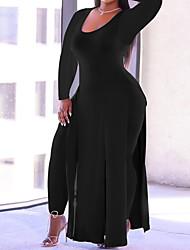 cheap -Women's Plus Size Dress Sheath Dress Maxi long Dress Long Sleeve Solid Color Casual Fall Spring Wine Gray Black L XL XXL 3XL 4XL / Regular Fit