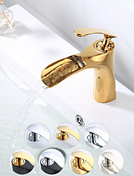 cheap -Bathroom Sink Faucet - Waterfall Nickel Brushed / Electroplated / Painted Finishes Centerset Single Handle One HoleBath Taps
