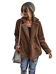 cheap -Women's Teddy Coat Daily Fall Winter Regular Coat Regular Fit Thermal Warm Casual Jacket Long Sleeve Solid Color Quilted caramel colour Camel colour Green