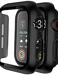 cheap -[2 pack] case for apple watch series 6/se/5/4 /3/2/1 44mm 42mm 40mm 38mm  built-in 9h tempered glass screen protector, hard pc ultra-thin bumper hd clear film full coverage cover black