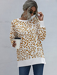 cheap -Women's Sweatshirt Pullover Crew Neck Camouflage Leopard Sport Athleisure Sweatshirt Top Long Sleeve Breathable Soft Comfortable Everyday Use Street Casual Daily Outdoor / Winter
