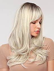cheap -platinum blonde wigs for white women ombre wigs with dark roots long curly blonde synthetic wig with bangs for daily wear cosplay party wigs 22 inch
