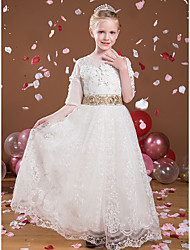 cheap -Princess Floor Length Flower Girl Dresses Party Tulle Half Sleeve Jewel Neck with Beading