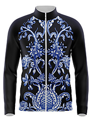 cheap -21Grams Men's Long Sleeve Cycling Jersey Spandex Blue Floral Botanical Bike Top Mountain Bike MTB Road Bike Cycling Quick Dry Moisture Wicking Sports Clothing Apparel / Athleisure
