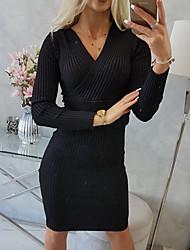 cheap -Women's Sheath Dress Knee Length Dress Purple Fuchsia Black Brown Long Sleeve Solid Color Ruched Fall Winter V Neck Casual 2021 S M L XL XXL 3XL