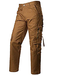 cheap -men's casual loose fit multi-pockets design cotton hiking work cargo pants