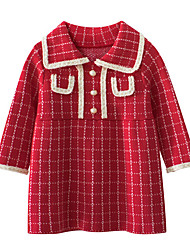 cheap -Kids Little Girls' Dress Striped Plaid A Line Dress Casual Daily Holiday Beaded Red Above Knee Long Sleeve Casual Cute Dresses Fall Winter Regular Fit 2-8 Years