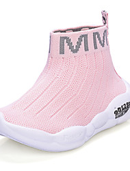 cheap -Girls' Flats Daily Knit Elastic Fabric Breathability High Elasticity Big Kids(7years +) Little Kids(4-7ys) Daily Walking Shoes Braided Strap Pink Black Beige Fall Winter / Mid-Calf Boots