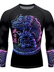 cheap -21Grams Men's Long Sleeve Compression Shirt Running Shirt Top Athletic Athleisure Spandex Quick Dry Moisture Wicking Breathable Fitness Gym Workout Running Active Training Exercise Sportswear Dragon
