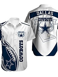 cheap -Men's Shirt Star Letter Button-Down Print Short Sleeve Street Regular Fit Tops Sportswear Casual Fashion Breathable White