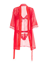 cheap -Women's Sexy Bodies Home Bed Transparent Pure Color Polyester Ultra Slim Hot See Through Thong Fall Winter Spring Short Robe